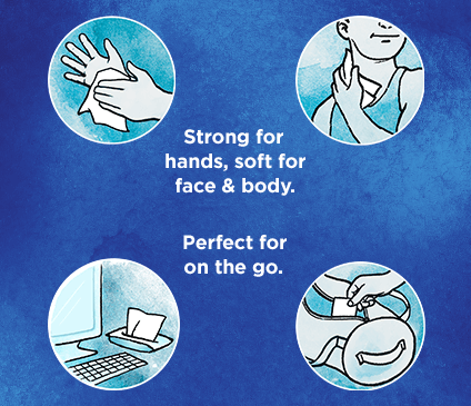 Kleenex Wet Wipes Germ Removal are strong enough to clean hands, but soft enough for face and body.